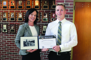 Amy Rummel, West Point Rep., and Owen Grile with his appointment certificate