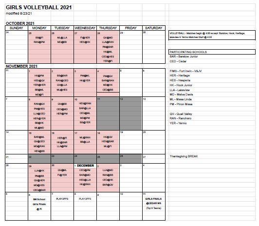 V-ball Schedule