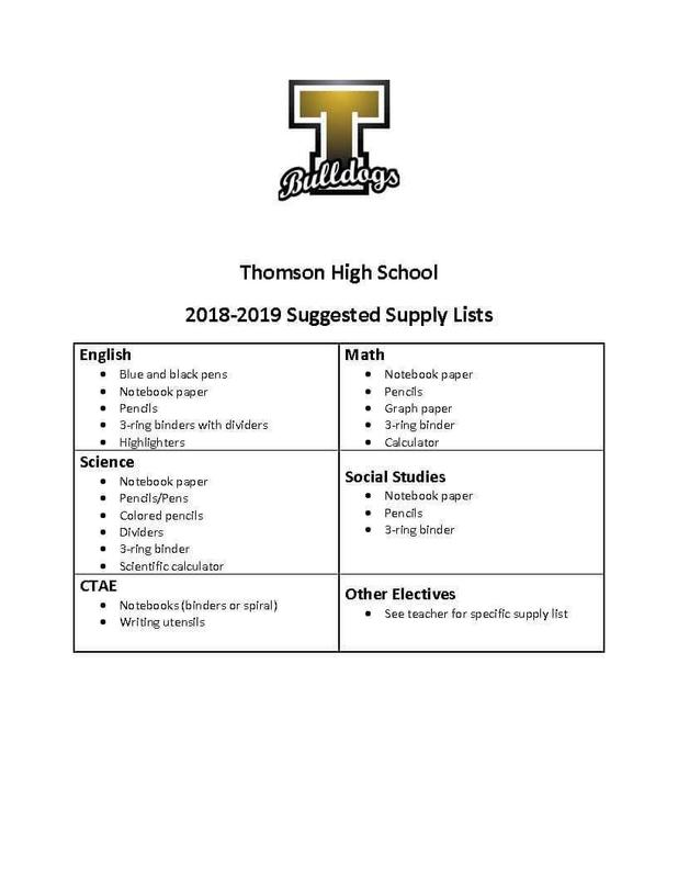 THS School Supply List