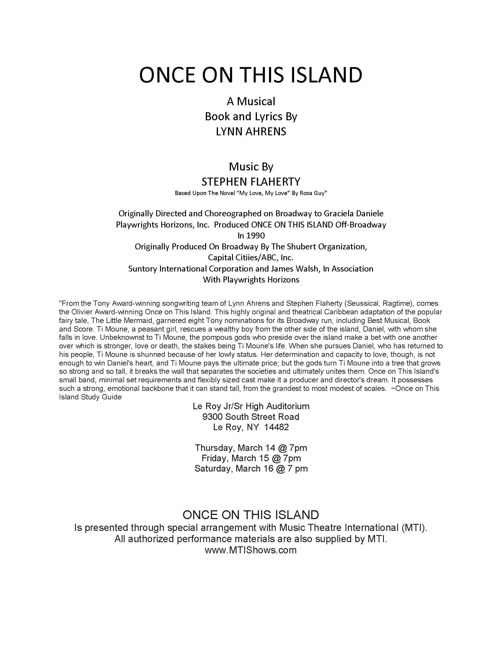 Billing Info for Musical Once on this Island