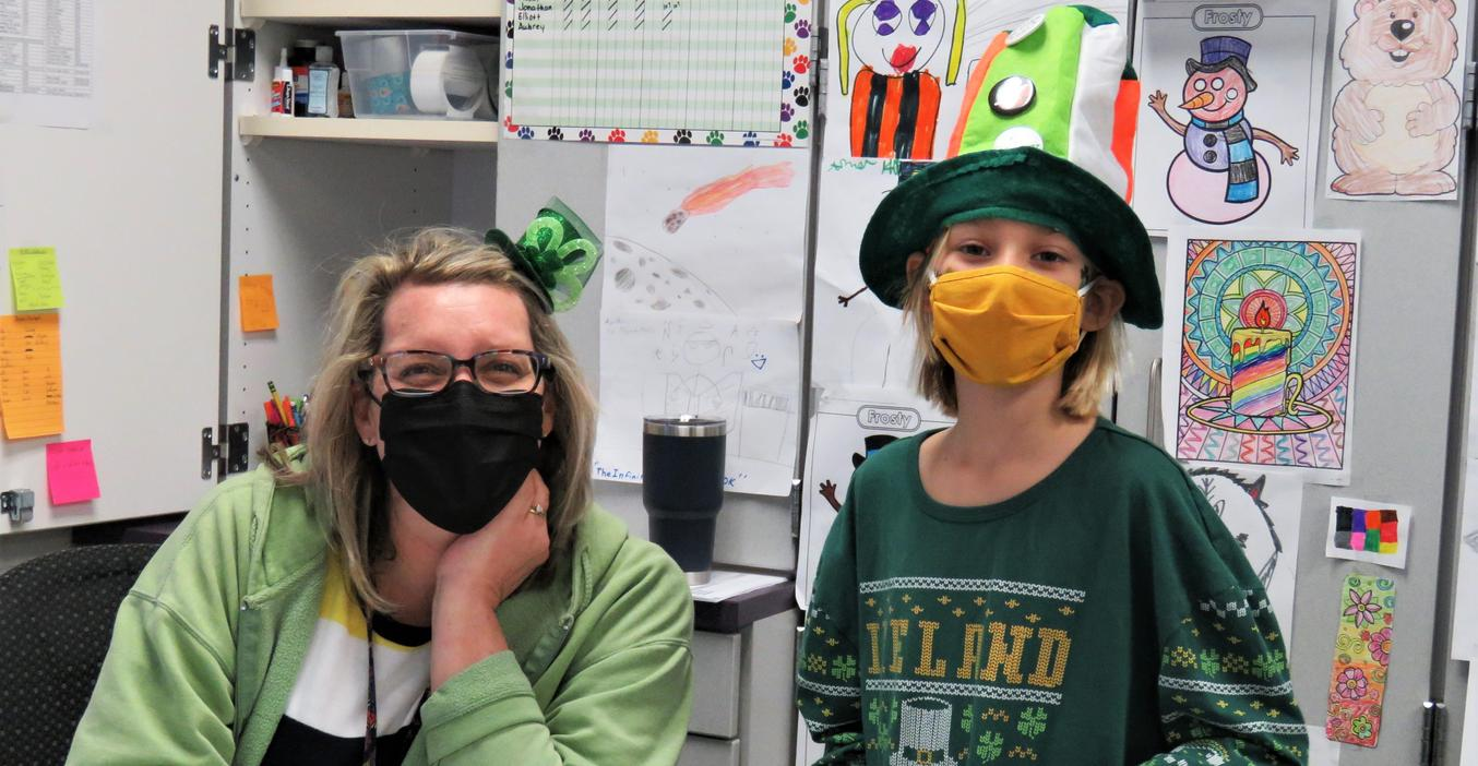 Lee students had a contest to see which class could wear the most green for St. Patrick's Day.