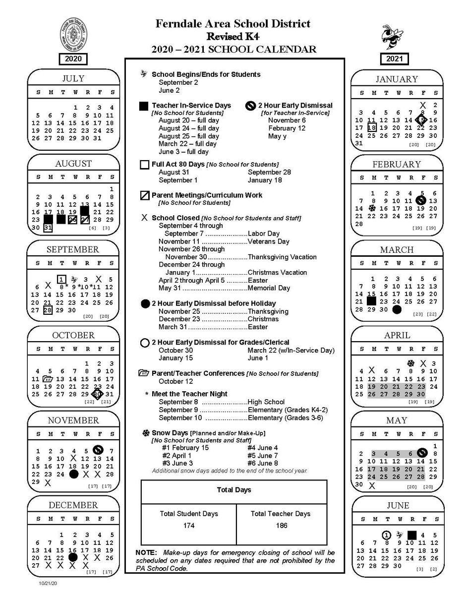 2020-2021 Revised K4 Calendar