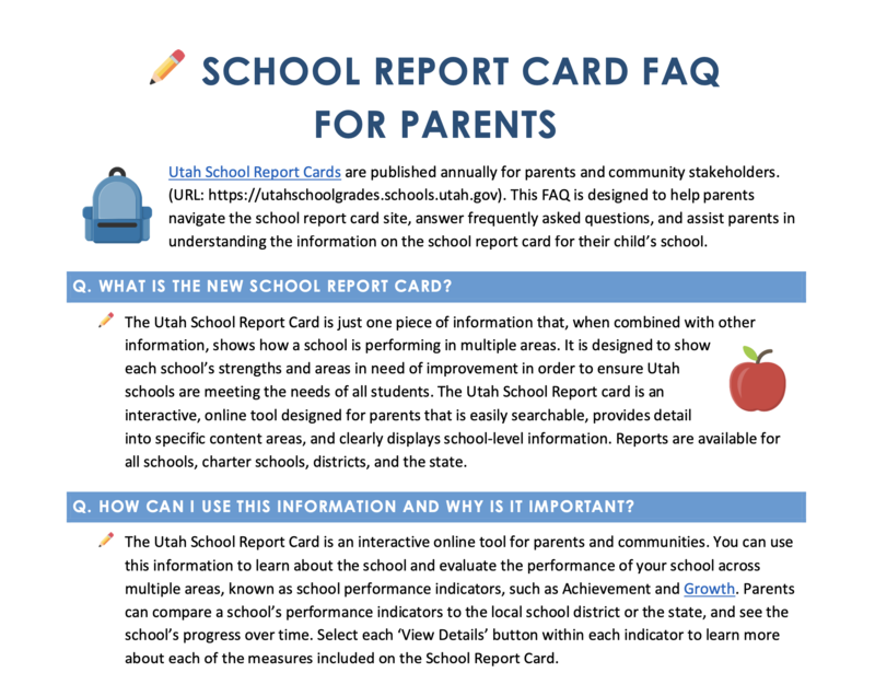 Image of School Report Cards Parent FAQs