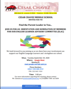 Virtual  ELAC Recruitment Meeting Tuesday  9/29/20 at 3:00pm Featured Photo