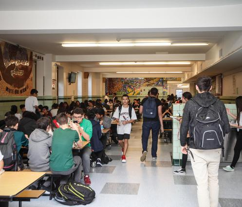 John Hancock College Prep students enjoy a 45 minute lunch break in the Cafeteria.