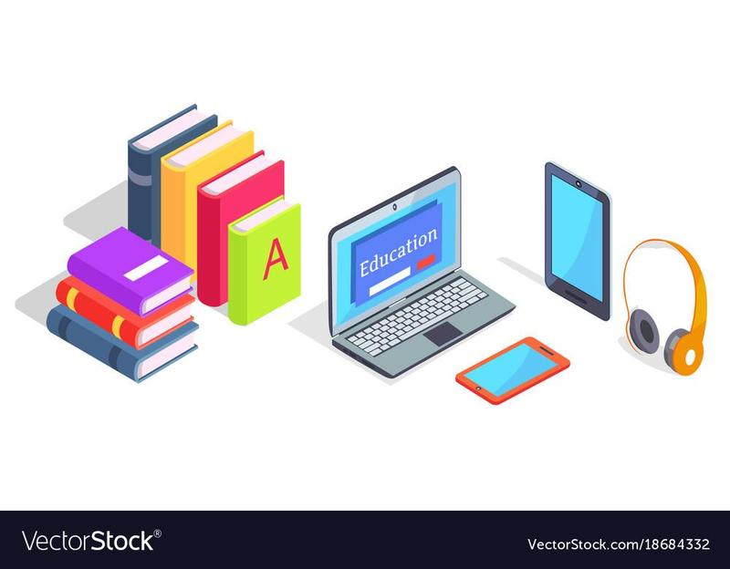 graphic of books and laptop