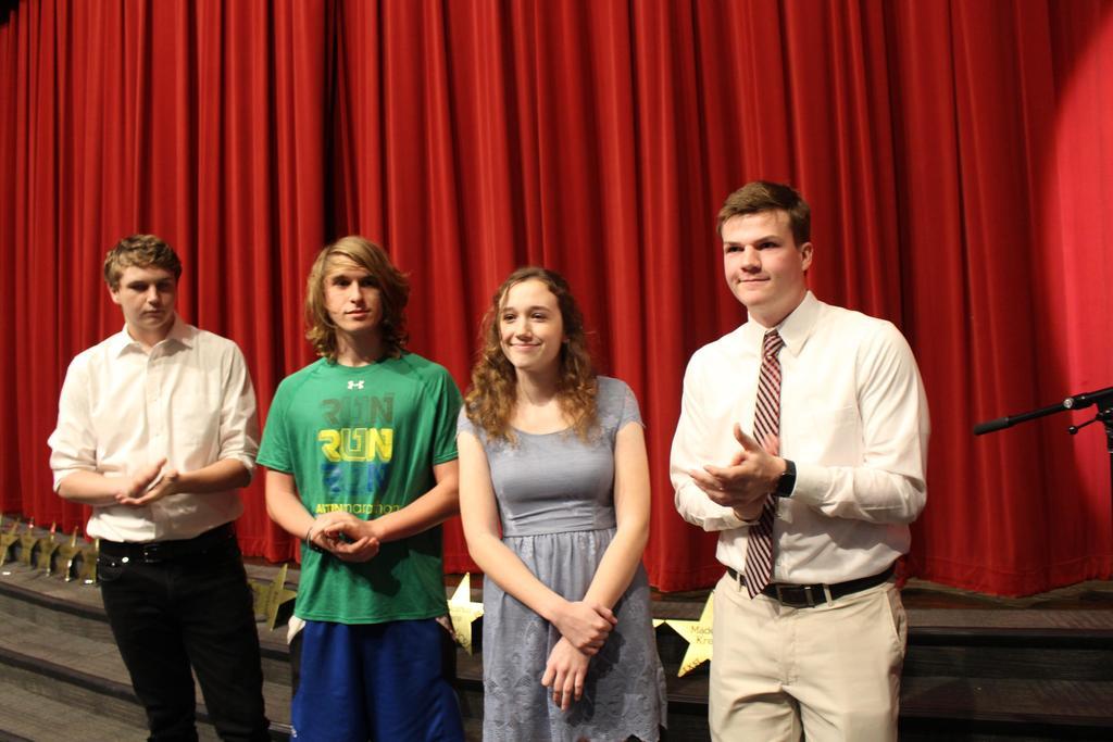 Class Officers L-R Drew Latz, Secretary; Preston Cranford, Treasurer; Torin Cronin, Vice President; Trevor Richter, President