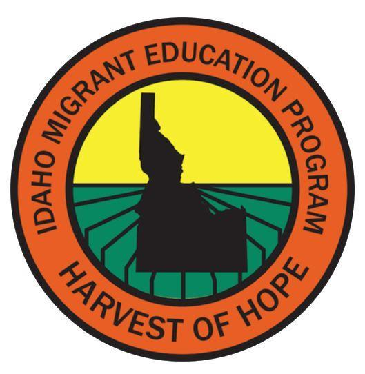 Idaho Harvest of Hope Logo sillouette of Idaho in front of green field