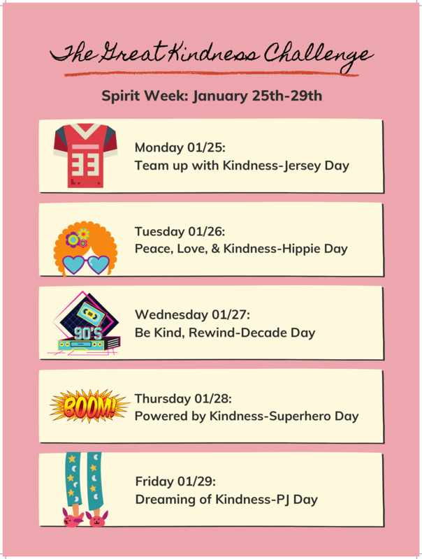 Great Kindness Challenge Spirit Week Featured Photo