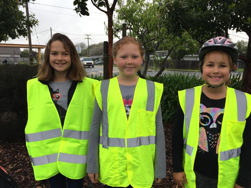 3 students at walk/bike to school day