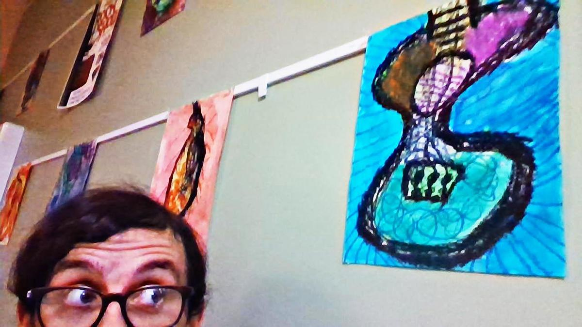 Mr. See spies some gorgeous student artworks on display in the hallway!