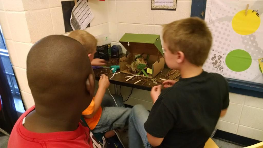 More students making Native American Diorama