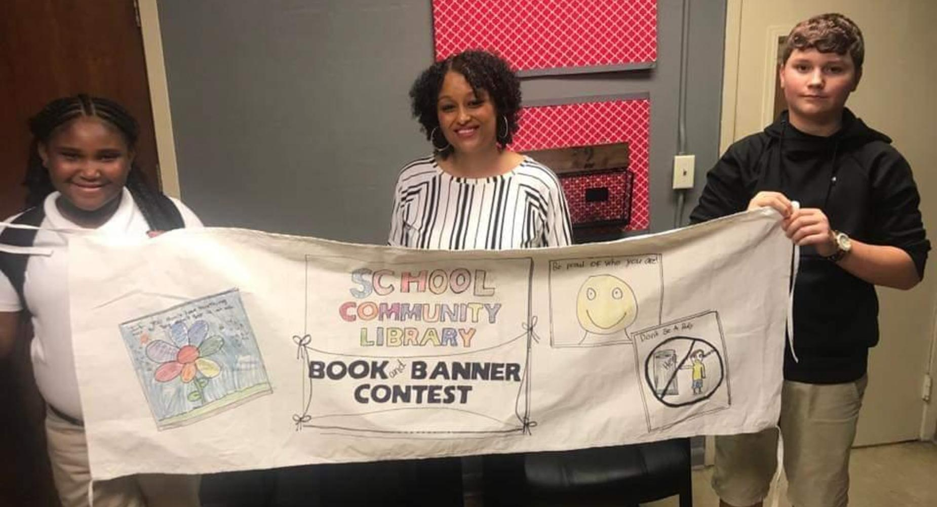 MS.RICHARD'S 5TH GRADE CLASS PARTICIPATED IN THE LIBRARY'S BOOK BANNER CONTEST!
