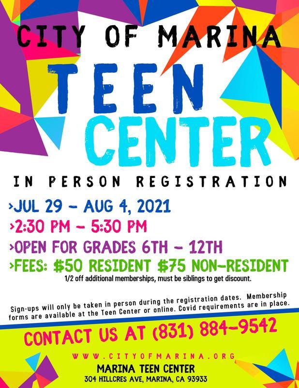 Teen Center Registration