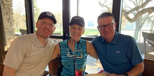 Me, son,and husband after golf