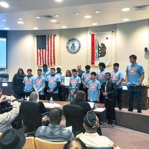 The Ganesha High School Football team was recognized by the City of Pomona for their athletic success! Congratulations Coach Donald Cayer and thank you for your leadership. We are proud of the GIANTS for their focus and dedication to cement their place in GHS history!
