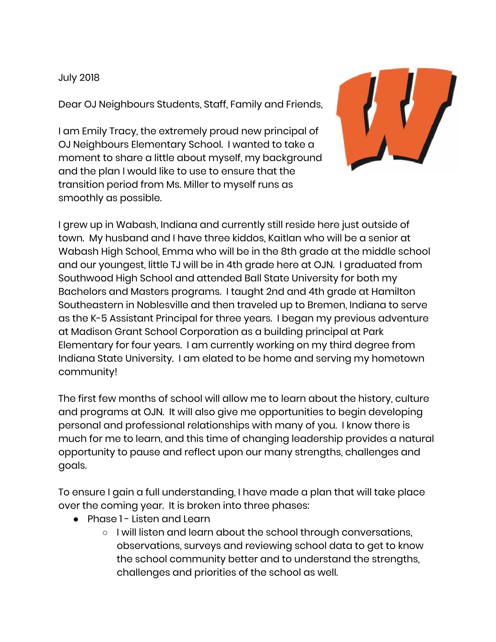 Principal's Message page 1
