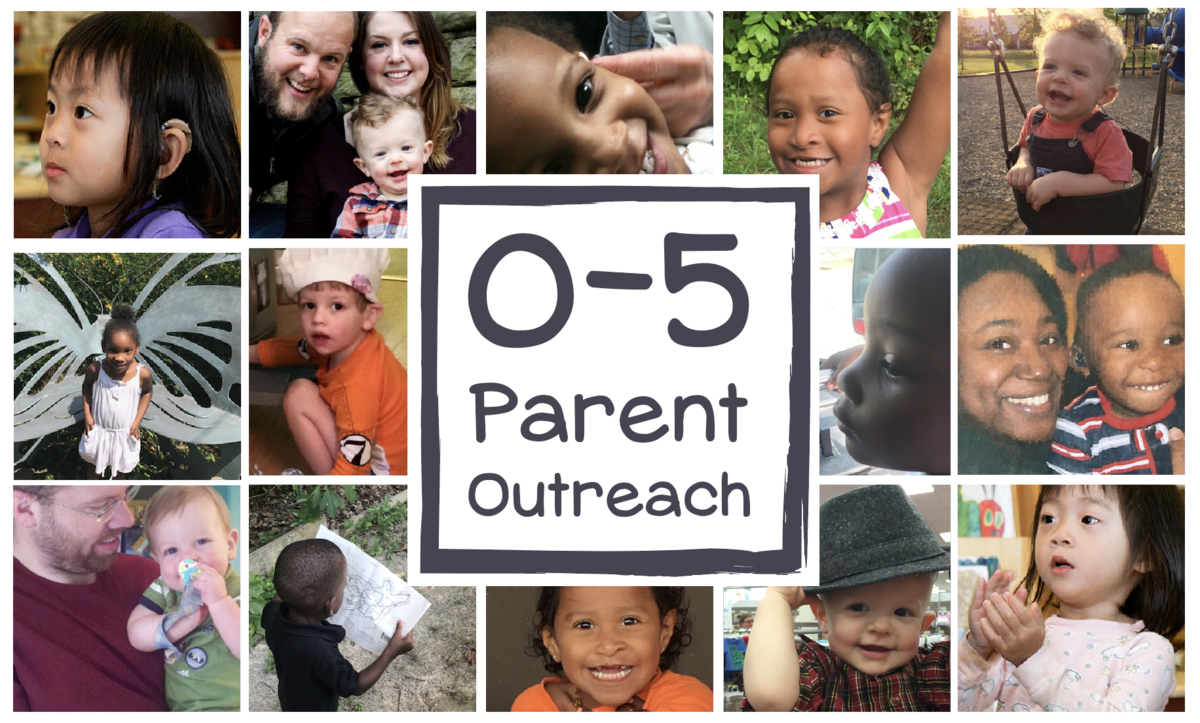 Logo of 0-5 parent outreach surrounded by child and parent photos