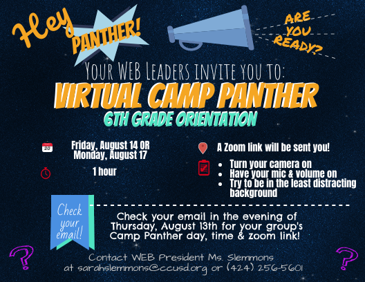 6th Graders - Get Ready for CAMP PANTHER! Thumbnail Image
