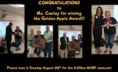 Congratulations to our Golden Apple Winner Ms. Cawley!