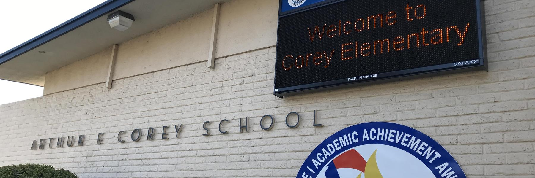 Corey School is a safe community where all students are challenged to achieve their highest potential: academically, artistically, and socially while embracing diversity and developing strength of character.