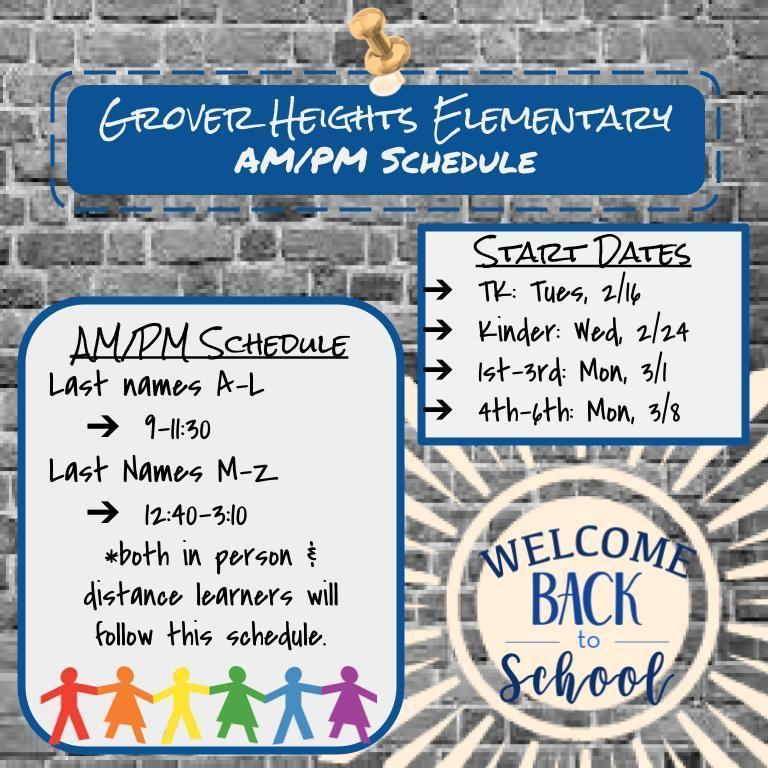 Grover Heights AM/PM Schedule