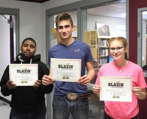 Photo of three COHS students who won Blazing Performers certificates