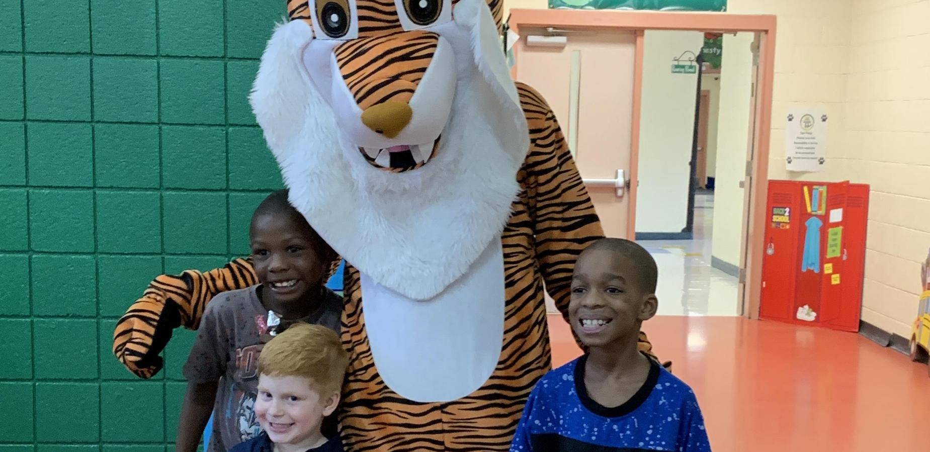 tiger and students