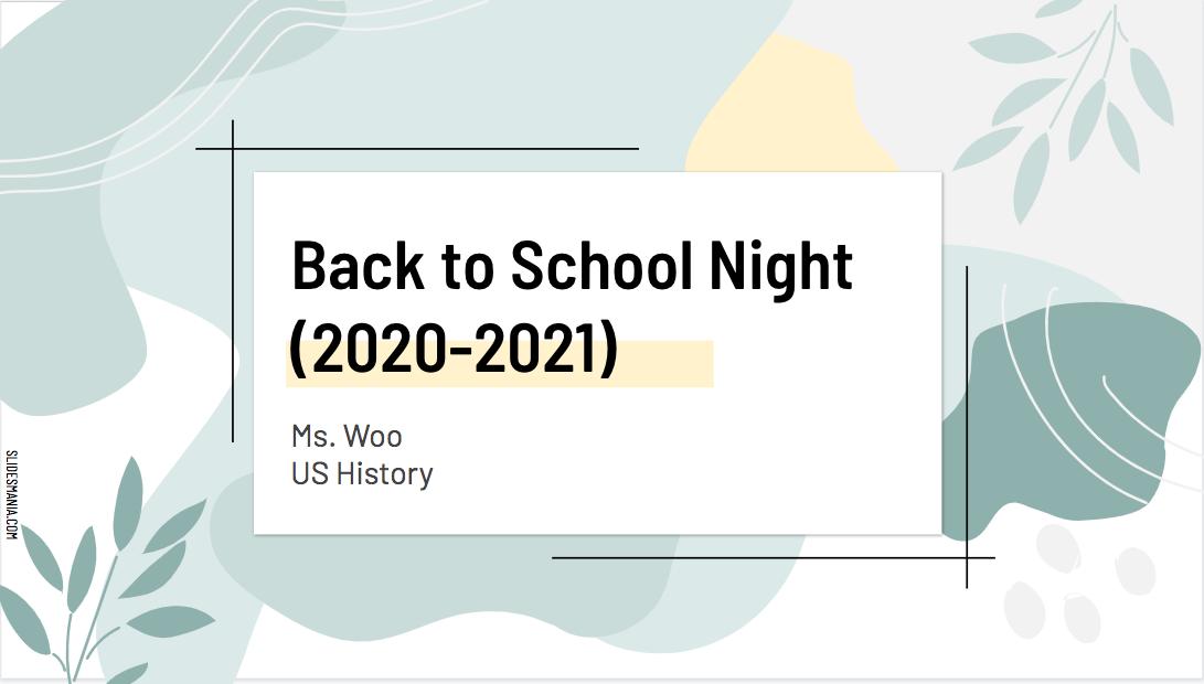 US History - Back to School Night