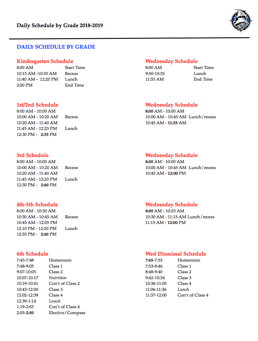 Daily Schedule By Grade