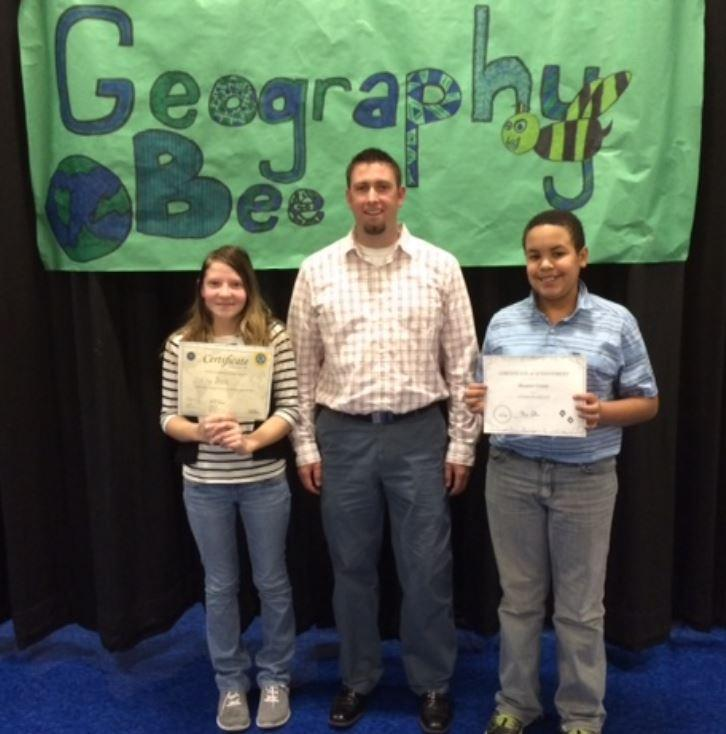 Geography Bee students with Principal Mackey