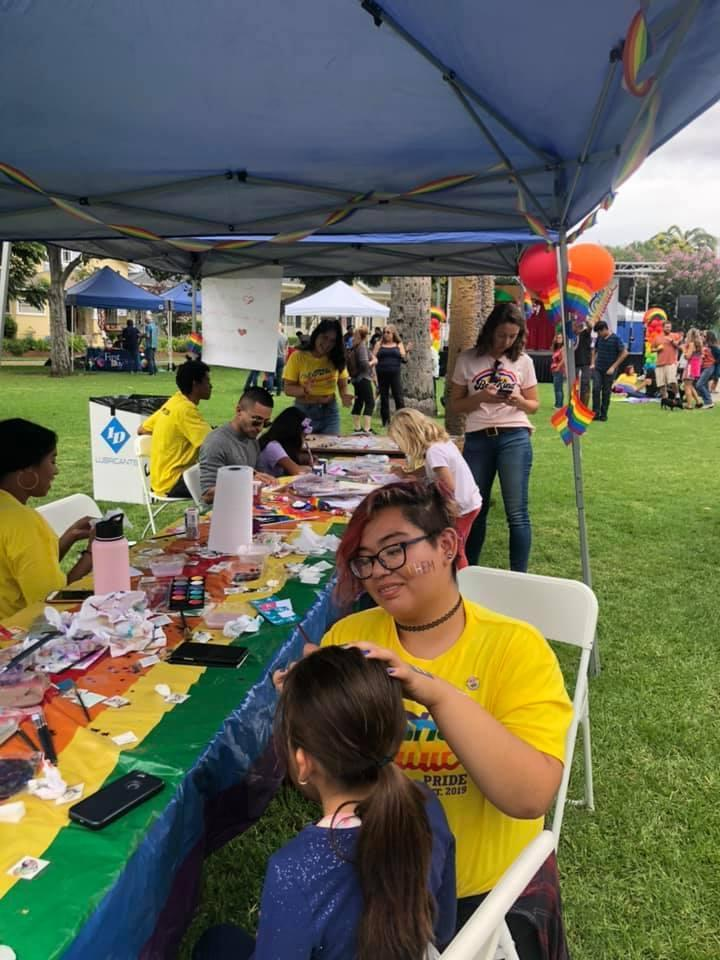 face painting at Whittier Pride
