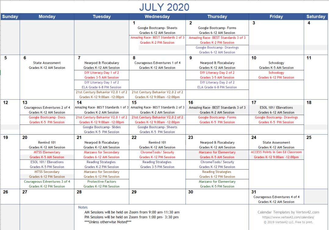 July PD Calendar