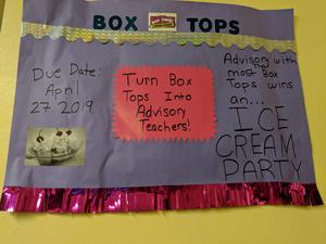 Bring in Box Tops to your advisory class by April 26 for a chance to win an ice cream party.