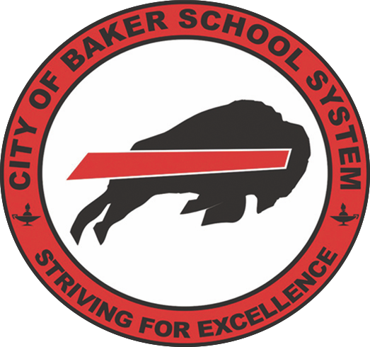 The City of Baker School System Logo of charging buffalo, red, white and black colors