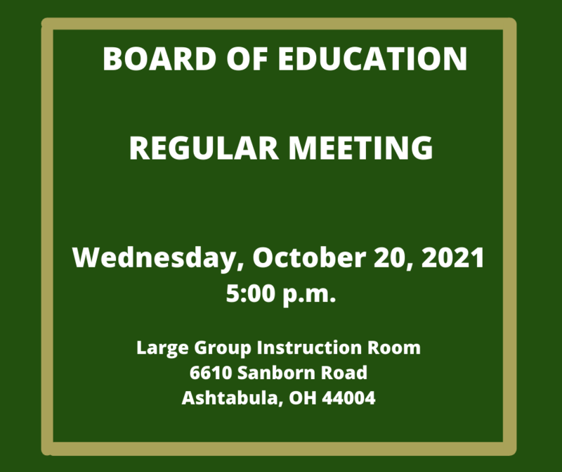 UPDATE NEW TIME AND LIVESTREAM LINK:  Regular Board of Education Meeting- October 20th 5:00 p.m. Featured Photo