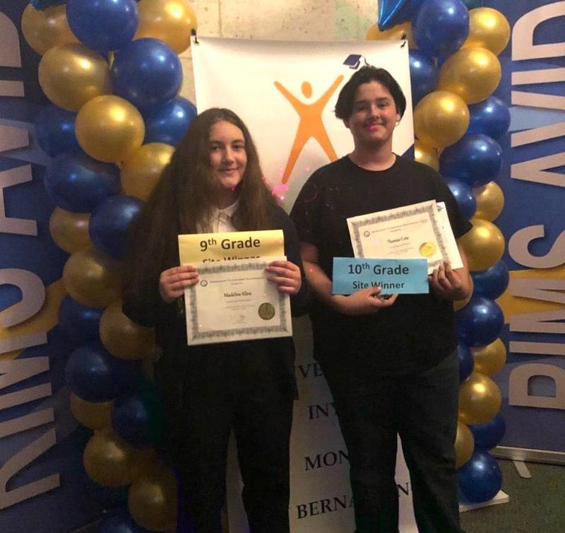 Madeline Kline, Thomas Cota Named AVID Write Off Site Winners Featured Photo