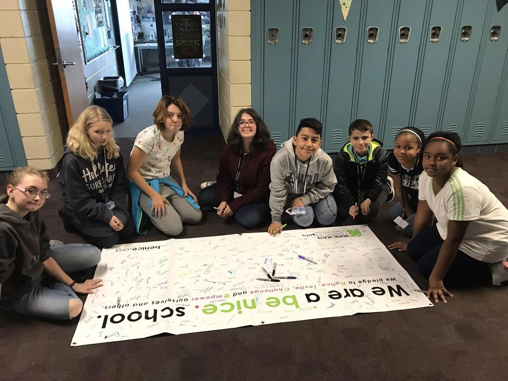 Students signed the Be Nice pledge following the kick-off assembly at the end of October. Wednesday's are Be Nice days which include lessons in Team time on how to Notice, Invite, Challenge, and Empower to help others who may be struggling.