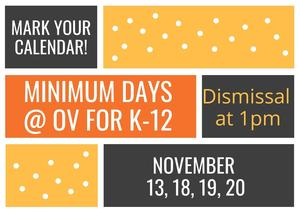 Minimum Day Announcement for November 13,18, 19, and 20, 2020