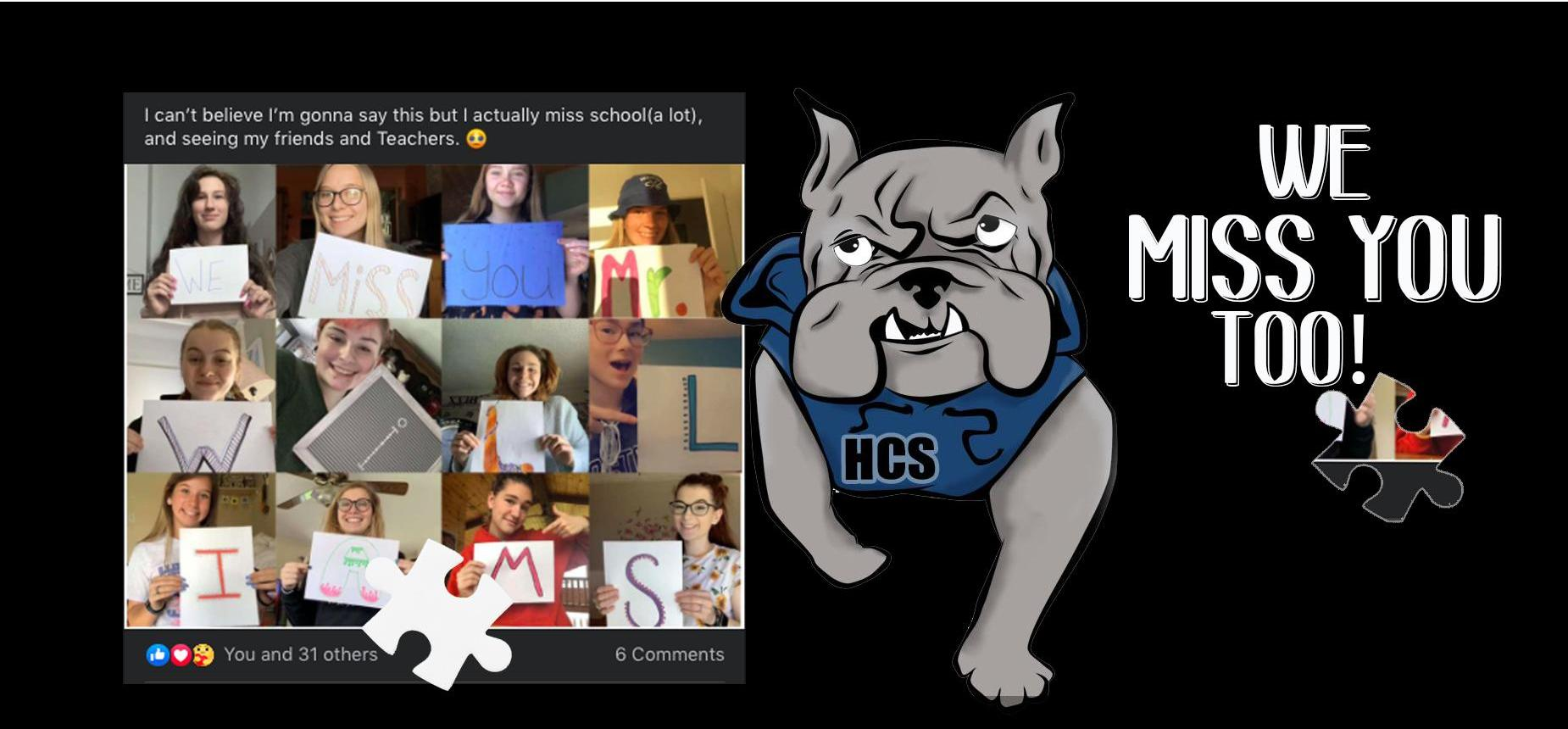Photo of students at a virtual meeting with signs expressing that they miss school