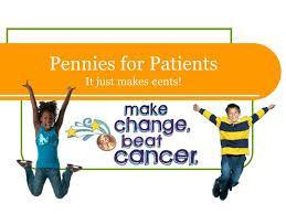 two kids jumping with change.  Pennies for patients in the background