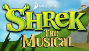 Decorative title photo that says SHREK The Musical