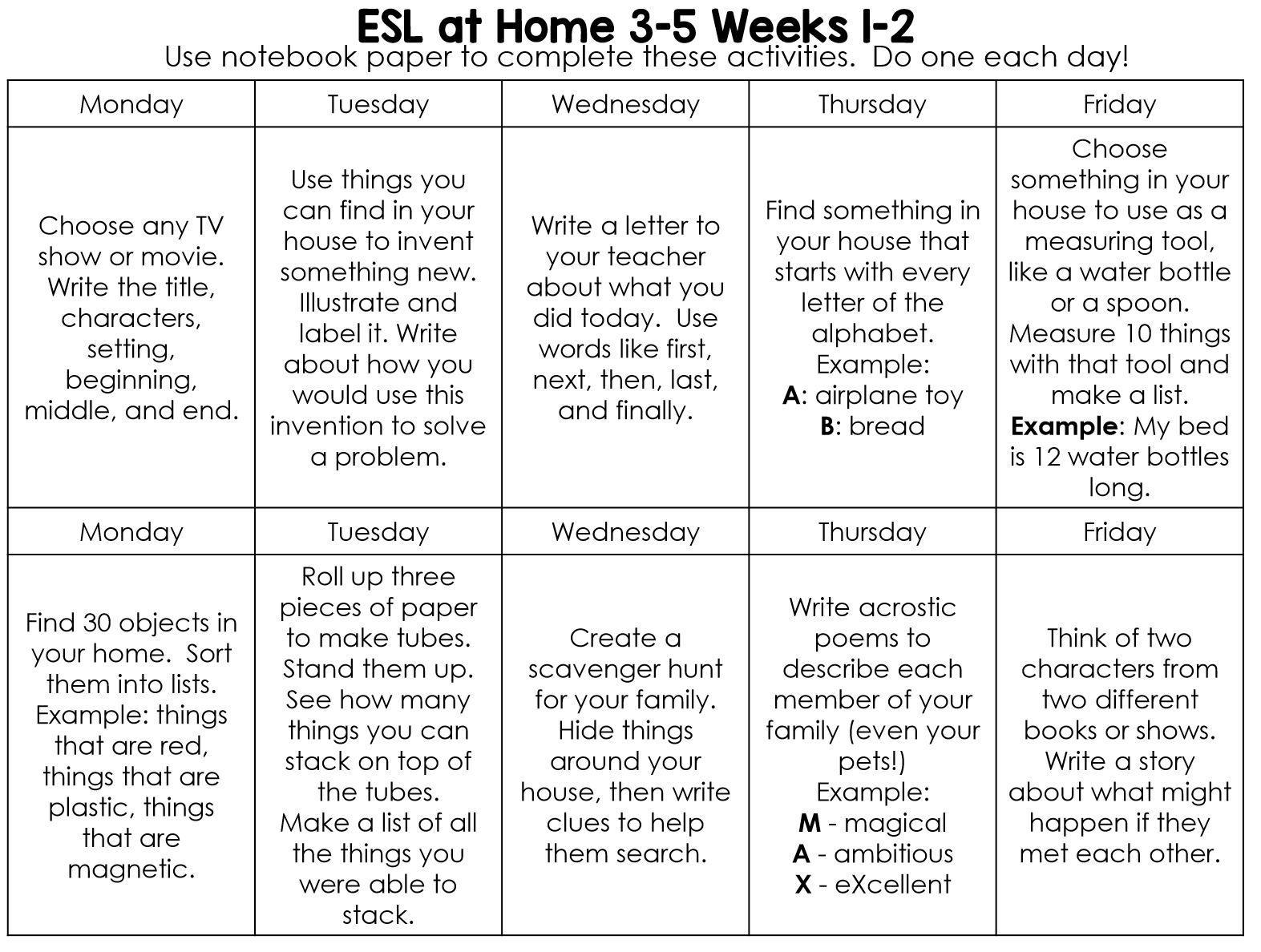 Choice Board Activities for Home