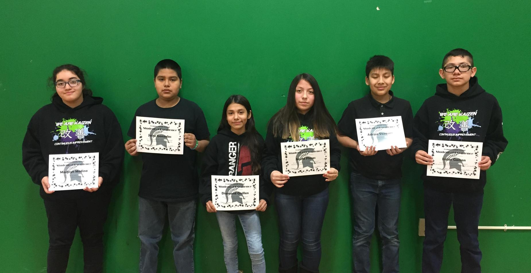 7th Grade Students of Excellence - November, December, and January