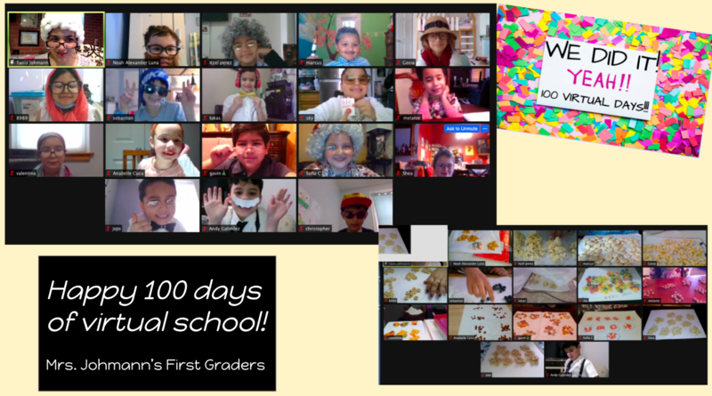 100th Day zoom class collage