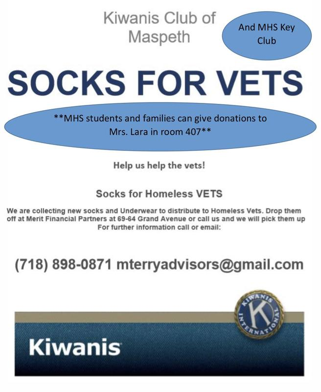 Maspeth High Key Club Collects Socks for Homeless Veterans Featured Photo