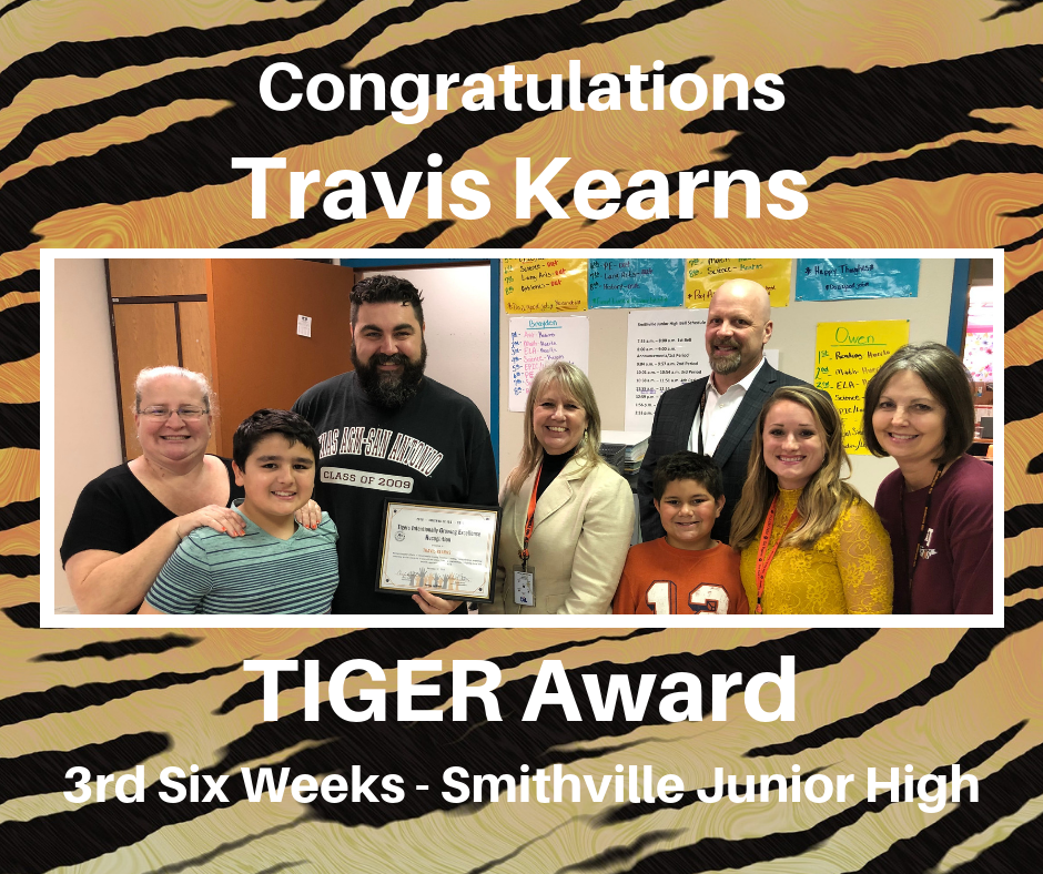 Travis Kearns TIGER Award Recipient