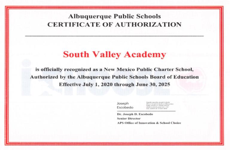 SVA Charter Renewal Certificate