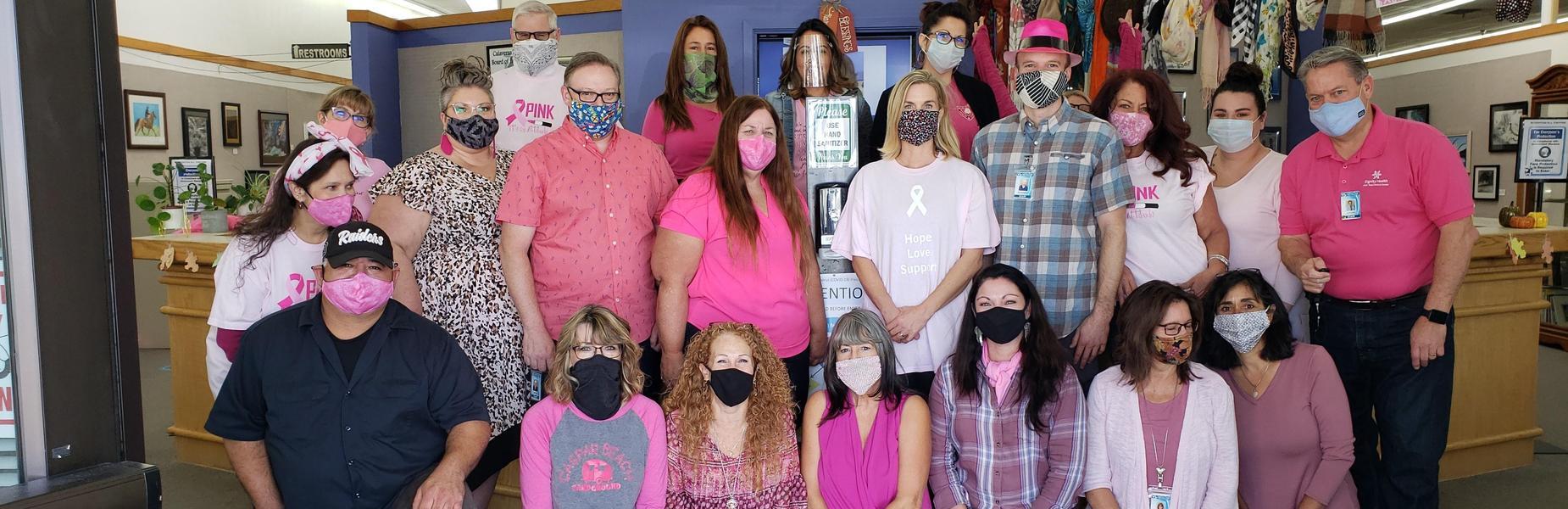 CCOE employees wearing pink