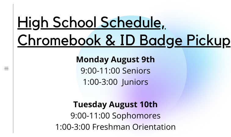 HS Schedule, Chromebook and ID Badge PickUp Featured Photo